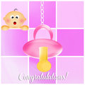 Congratulations for newborn illustration of pacifier baby girl Stock Images