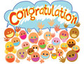 Congratulations with people faces Stock Photo