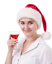 Congratulations simple young woman in santa s hat Royalty Free Stock Image