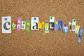 Congratulations single letters pinned on cork noticeboard Stock Image