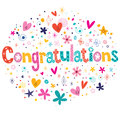 Congratulations typography lettering decorative text card design celebratory Royalty Free Stock Image