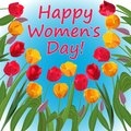 Congratulations on Women`s Day in a frame of bright tulips