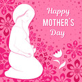 Congratulations on your mother`s day. Vector illustration of a pregnant woman looking at a flower. On a background a