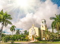 Congregational church of coral gables in miami concept religious illumination from the sky Stock Photo