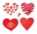 Conjunto de corazones de las tarjetas del día de San Valentín, parte 4 Imagen de archivo