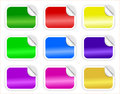 Conjunto de etiquetas engomadas brillantes con el borde encrespado Foto de archivo libre de regalías