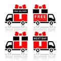 Conjunto de iconos rojos del camión - salida libre Imágenes de archivo libres de regalías