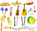 Conjunto de instrumentos musicales de la historieta divertida Imagenes de archivo