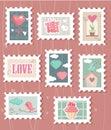 Conjunto de sellos del d�a del `s de la tarjeta del d�a de San Valent�n Imagen de archivo