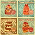Conjunto de tarjetas retras con la torta Fotografía de archivo
