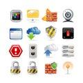 Conjunto del icono de la red de ordenadores Foto de archivo libre de regalías