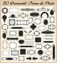 Conjunto ornamental del vector de los marcos y de los paneles de la vendimia Foto de archivo
