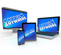 Connect anywhere computer laptop smart phone desktop tablet devi words on several devices and to illustrate wireless connectivity Royalty Free Stock Photos