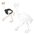Connect the dots game ostrich vector illustration Royalty Free Stock Photo
