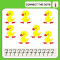 Connect the dots preschool exercise task for kids numbers duck Stock Image