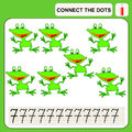 Connect the dots preschool exercise task for kids numbers frog Stock Image
