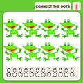 Connect the dots preschool exercise task for kids numbers frog Royalty Free Stock Images