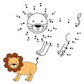 Connect the dots to draw the cute lion and color it. Vector illustration Royalty Free Stock Photo