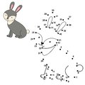 Connect the dots to draw the cute rabbit and color it Royalty Free Stock Photo