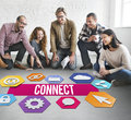 Connect People Network Graphic Concept Royalty Free Stock Photo