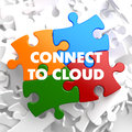 Connect to cloud on multicolor puzzle white background Royalty Free Stock Images