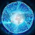 Connected bright dots with world map Royalty Free Stock Photo