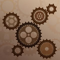 Connected gear cogs metal silhouette on a mechanical background Stock Image