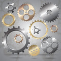 Connected gear cogs metal silhouette on a mechanical background Royalty Free Stock Photography