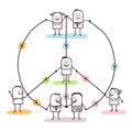 Connected people making a peace and love sign Royalty Free Stock Photo