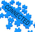 Connected Puzzle Showing Global Communications Royalty Free Stock Photo