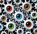 Connected vision network business concept with a group of human eye balls shaped as gear wheels and cogs connecting together in a Stock Photos