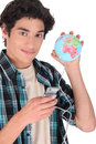 Connecting all over the world teenager Stock Image