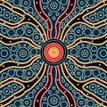 Connection concept, Aboriginal art vector painting, Illustration based on aboriginal style of dot background