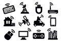 Connection icon set vector black on white Stock Photos