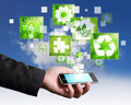 Connection touch screen mobile phone green concept Royalty Free Stock Photo