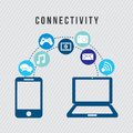 Connectivity icons over gray background illustration Stock Photos