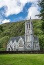 Neo-Gothic church at Kylemore Abbey, Ireland. Royalty Free Stock Photo
