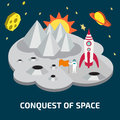 Conquest of space of the moon space isometric elements Stock Image