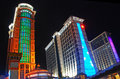 Conrad and sheraton hotels in macao resort with lights Stock Photos
