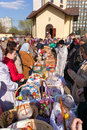 Consecration of easter cakes and eggs moscow russia april for near the chapel in honor our lady the inexhaustible Stock Photos