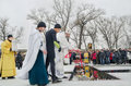 The consecration of the water in the river religious christian holiday epiphany bishop novomoskovsk eulogy Royalty Free Stock Photography