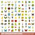 100 conservation icons set, flat style