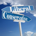 Conservative and liberal signs Royalty Free Stock Photo