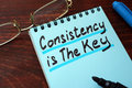 Consistency is The Key written on a notepad. Royalty Free Stock Photo