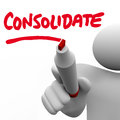 Consolidate writing word combine groups stronger company consoli written on a board by a man with a marker or pen to illustrate Royalty Free Stock Images