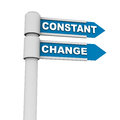 Constant change concept words road sign pointing right white background blue label backgrounds Stock Images