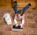 Constant companions - a boy and his dog Royalty Free Stock Image