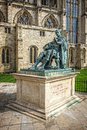 Constantine the great sculpture of roman emperor close to york mister Stock Photography