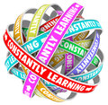 Constantly learning continual growth education training the words on several colored loops going on for infinity to illustrate Stock Images