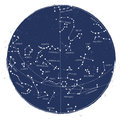 Constellation star map astronomical celestial of northern hemisphere vintage style Royalty Free Stock Photography